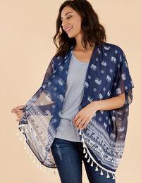 chiffon elephant print kimono