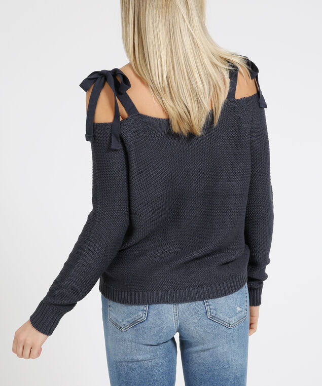 shoulder tie sweater - wb, ECLIPSE, hi-res