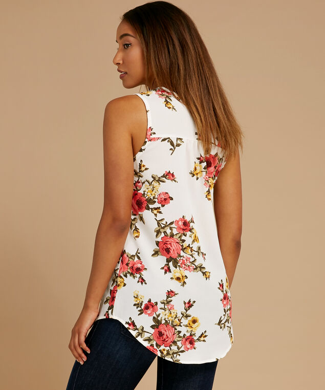 pleated front sleeveless top, IVORY FLORAL, hi-res