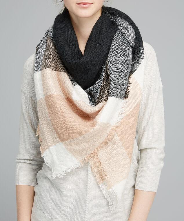 plaid blanket scarf, BLACK/PINK, hi-res