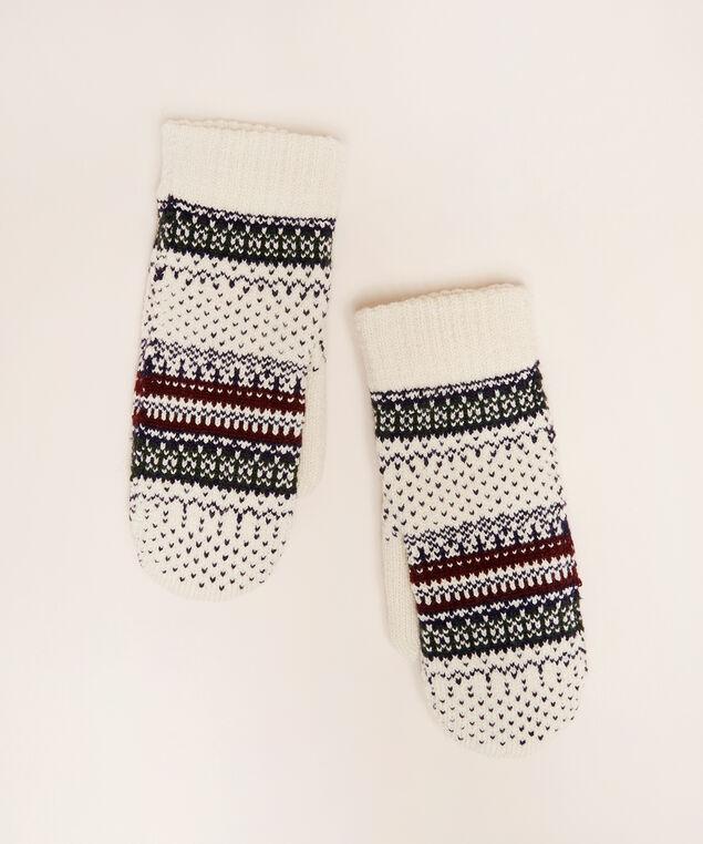 fairisle mittens, IVORY/NAVY, hi-res