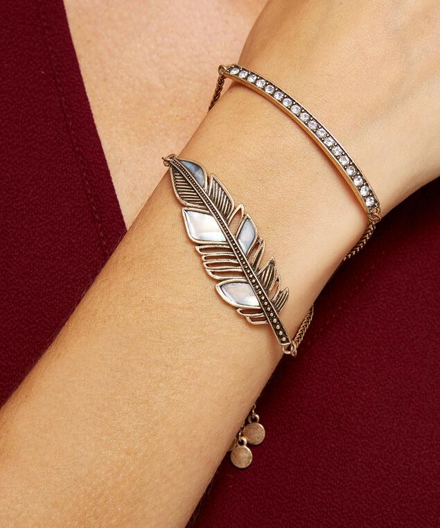 feather bracelet, GOLD, hi-res