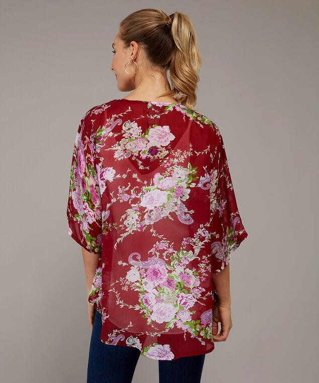 short floral kimono - wb, RED FLORAL, hi-res