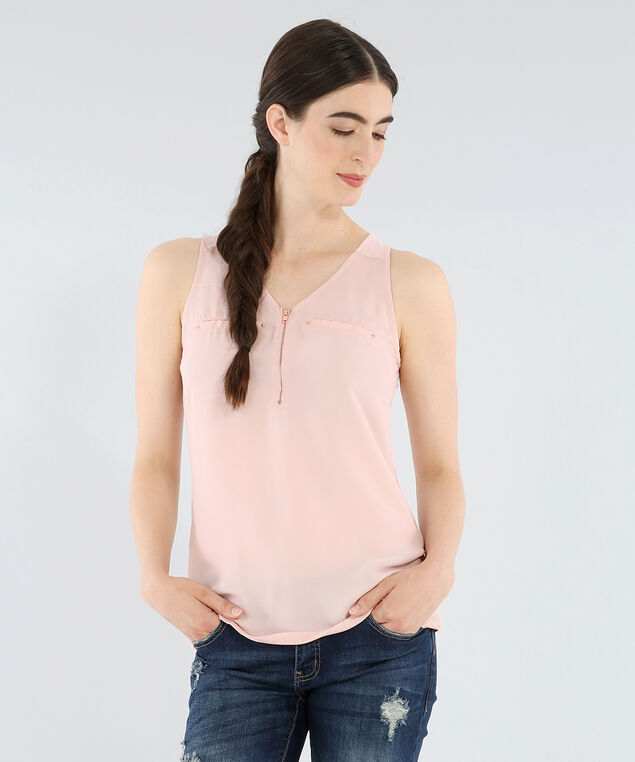 knit back zipper front top - wb, PINK, hi-res