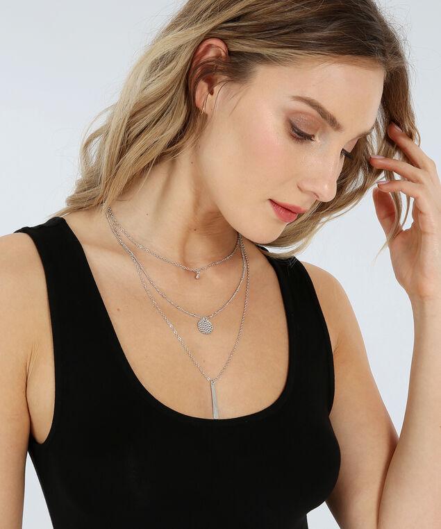 3 strand mixed pendant necklace, SILVER, hi-res