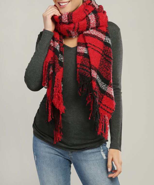 large chunky scarf, RED/BLACK, hi-res
