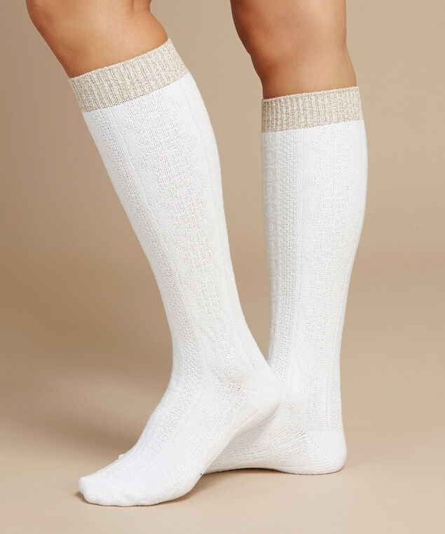 knee high cable knit socks, IVORY, hi-res