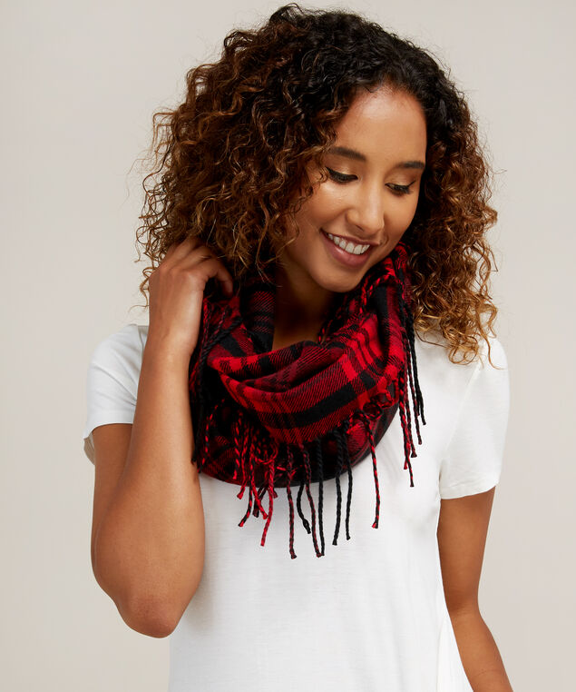 infinity plaid scarf with tassels, RED BLACK, hi-res