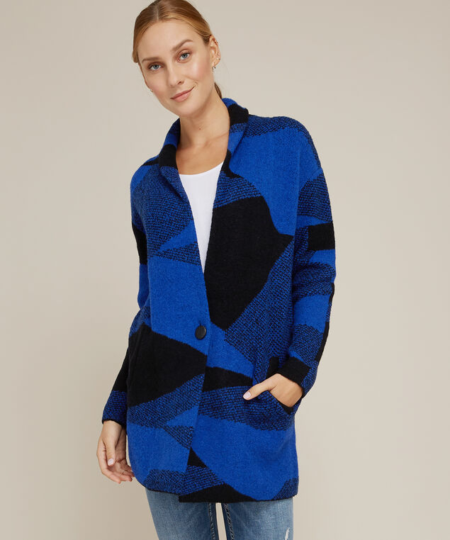 abstract jacquard cardi - wb, ROYAL/BLACK, hi-res