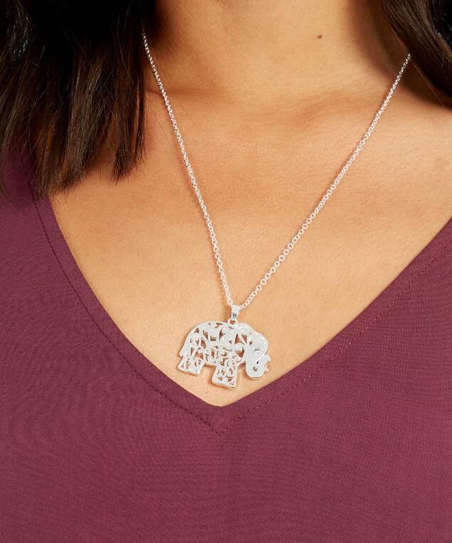 elephant necklace, SILVER, hi-res