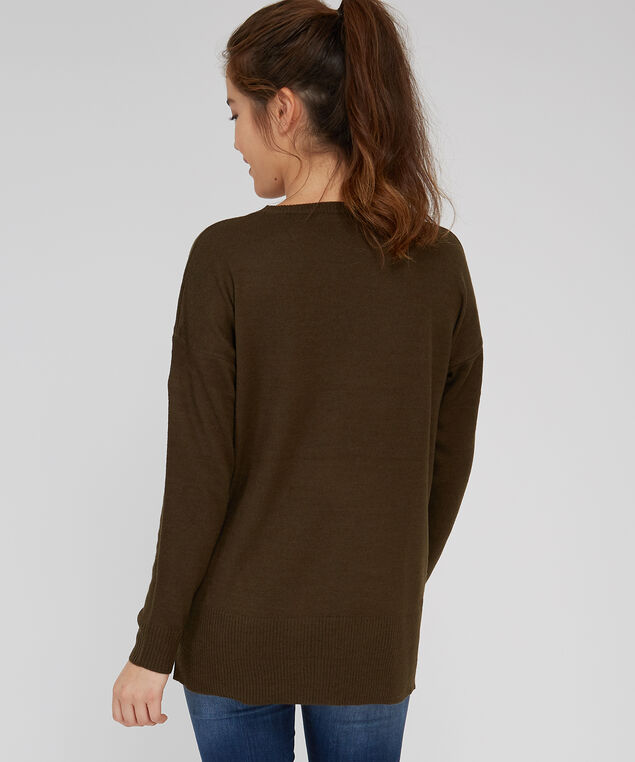 crew neck zipper sweater - wb, ARMY GREEN, hi-res