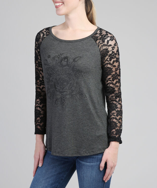3/4 lace sleeve tee, CHARCOAL GRAPHIC, hi-res