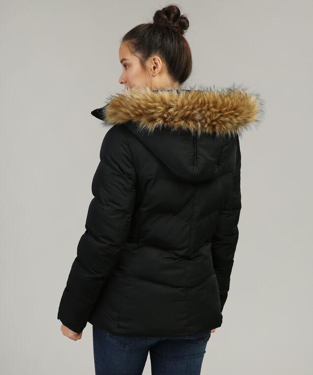 fur lined hood puffer parka - wb, BLACK, hi-res