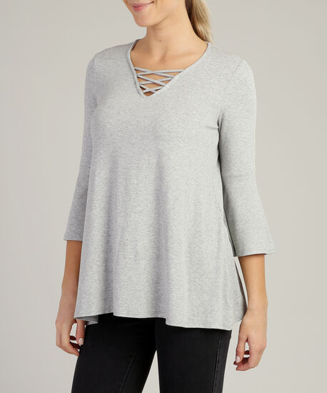 flutter long sleeve with lattice neckline, HEATHER GREY, hi-res