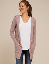 hooded cardigan with pockets - wb