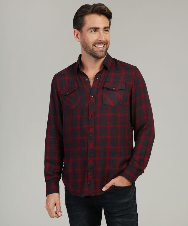 plaid woven shirt - wb, RED, hi-res