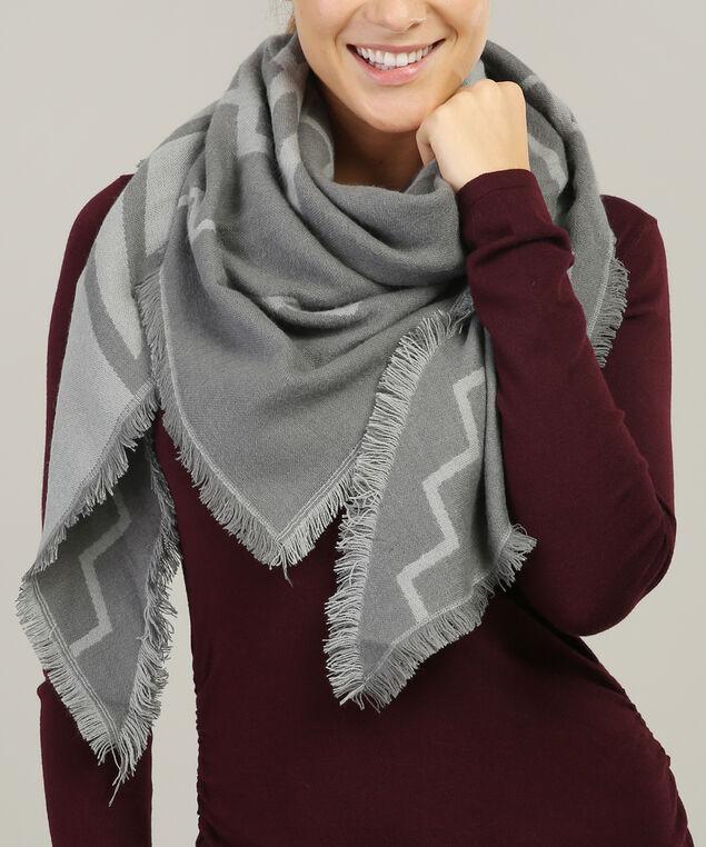 chevron pattern triangle scarf, GREY MIX, hi-res