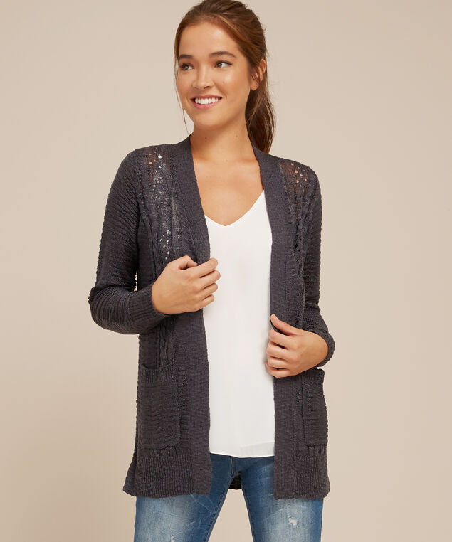 cardigan with front cable - wb, DARK SEA, hi-res