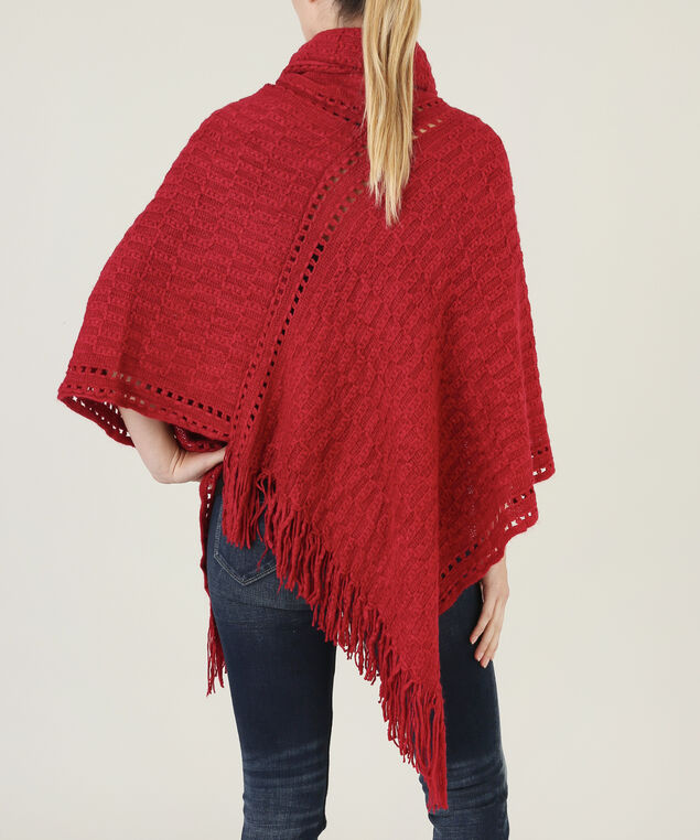 poncho with cable stitch detail - wb, CRANBERRY, hi-res