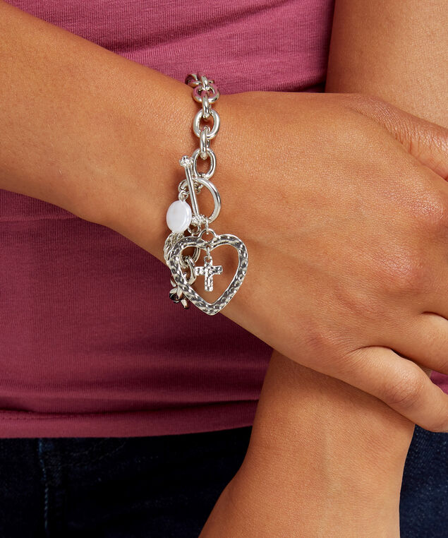 silver heart charm bracelet, SILVER, hi-res