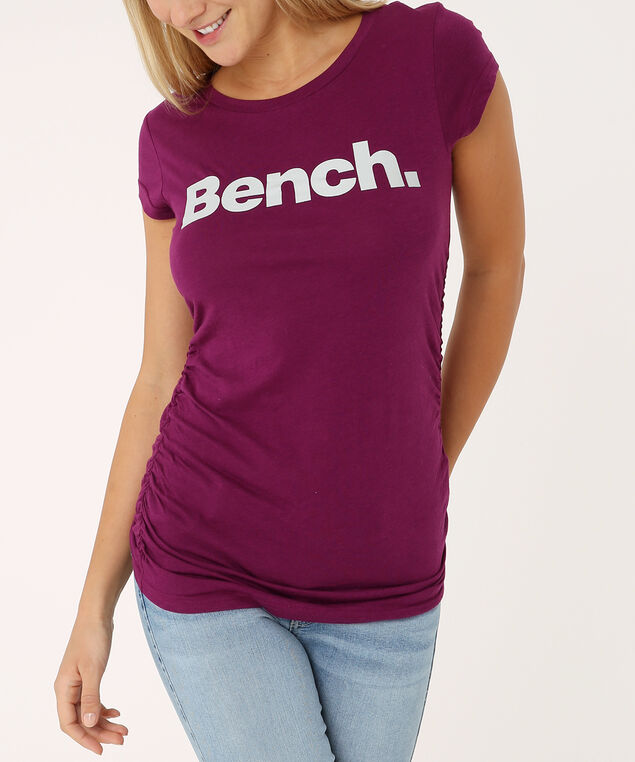 tee with side ruching - wb, PLUM, hi-res