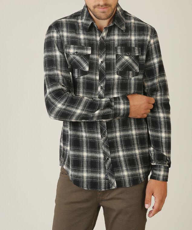 plaid flannel shirt, BLACK WHITE PLAID, hi-res