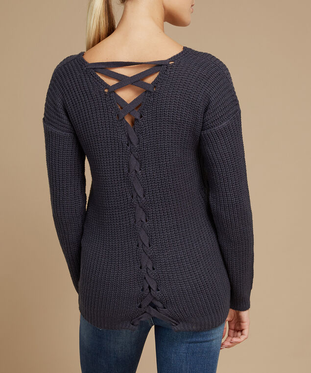 lace up back popover sweater - wb, STARRY NITE, hi-res