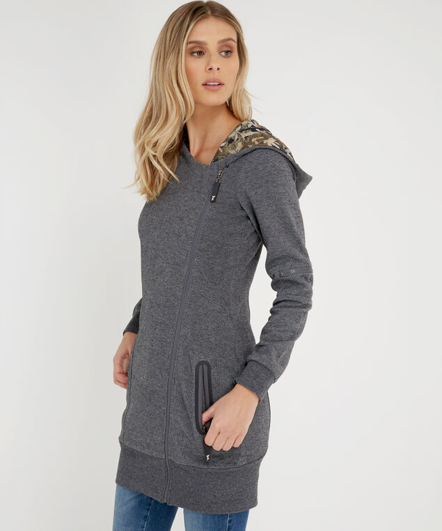 tunic length zip-up - wb, CHARCOAL, hi-res