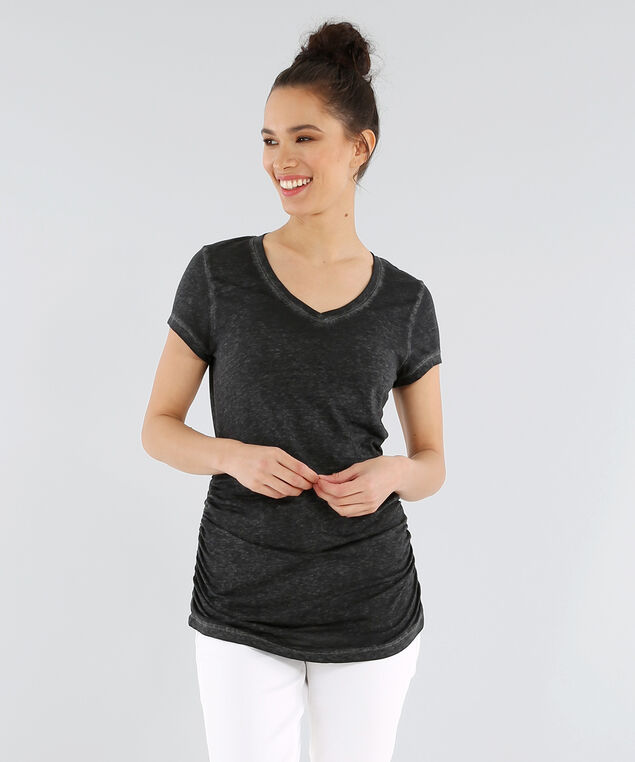 jenny ruched v neck burnout tee, CHARCOAL, hi-res