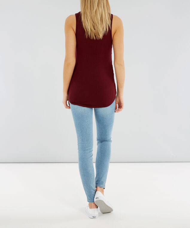 double ruched tank - wb, BURGUNDY, hi-res