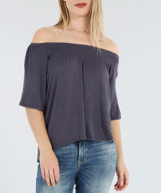 smock front off shoulder top - wb, MAUVE, hi-res