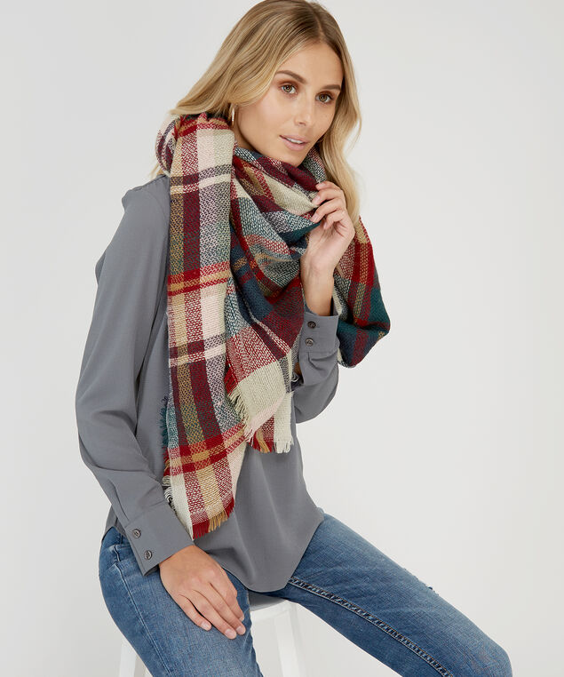 plaid blanket scarf, GREEN COMBO, hi-res