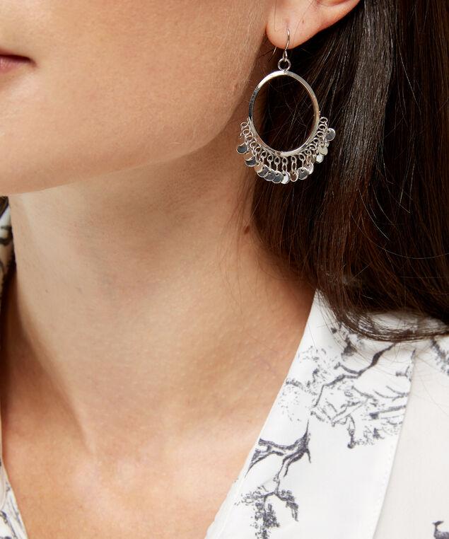 oval hoop disc detail earrings, SILVER, hi-res