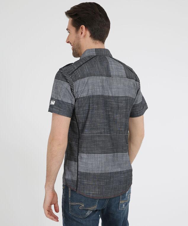 striped short sleeve shirt, BLACK, hi-res