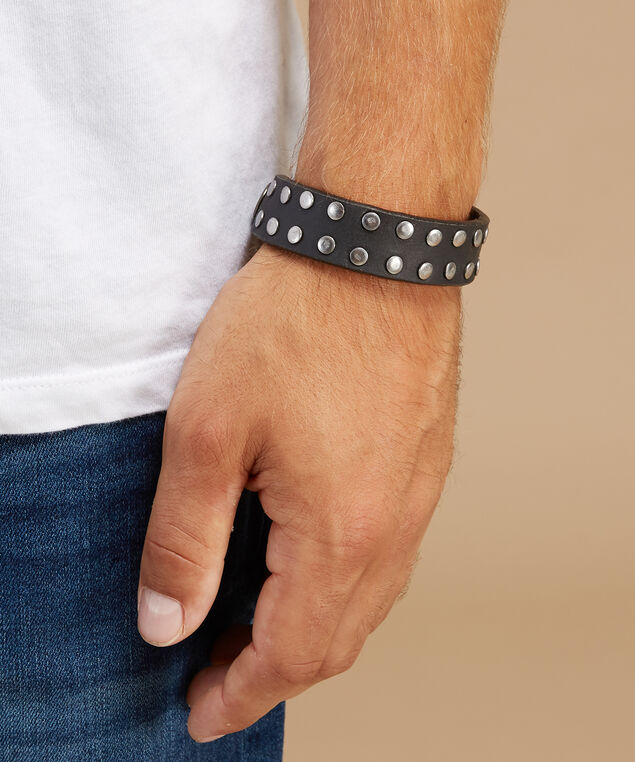 men's studded cuff, BLACK, hi-res