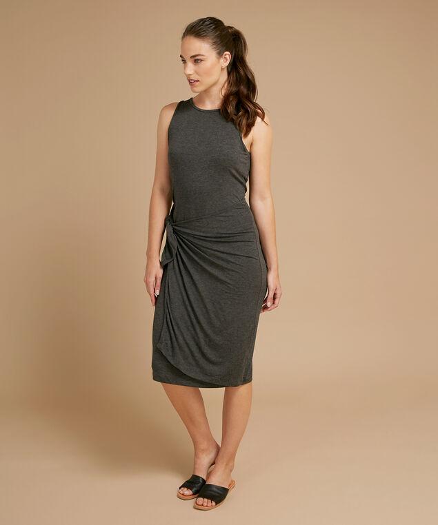 wrap tie dress - wb, CHARCOAL, hi-res