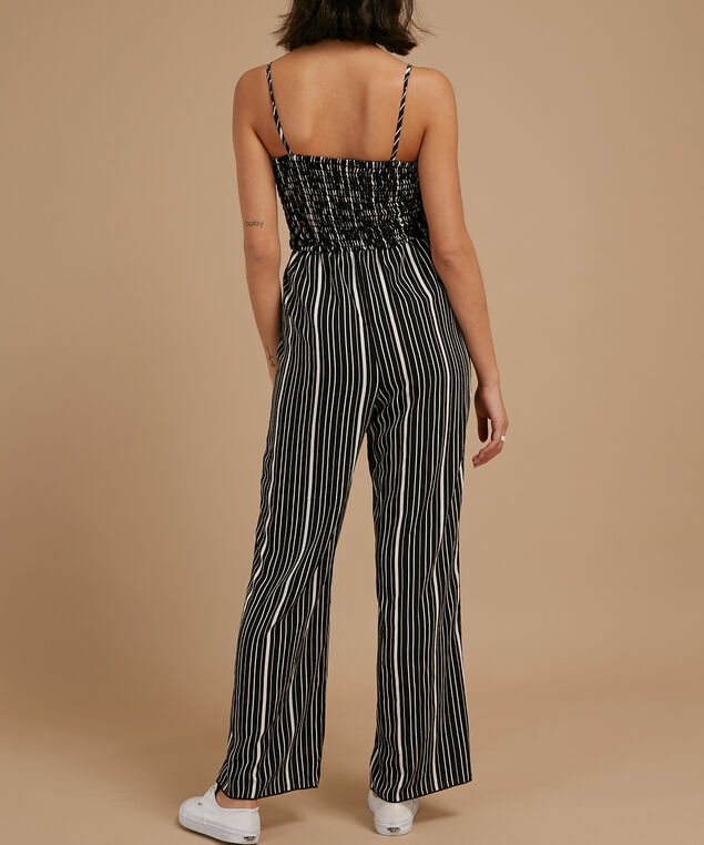 smocked bodice jumpsuit with waist tie, B&W STRIPE, hi-res