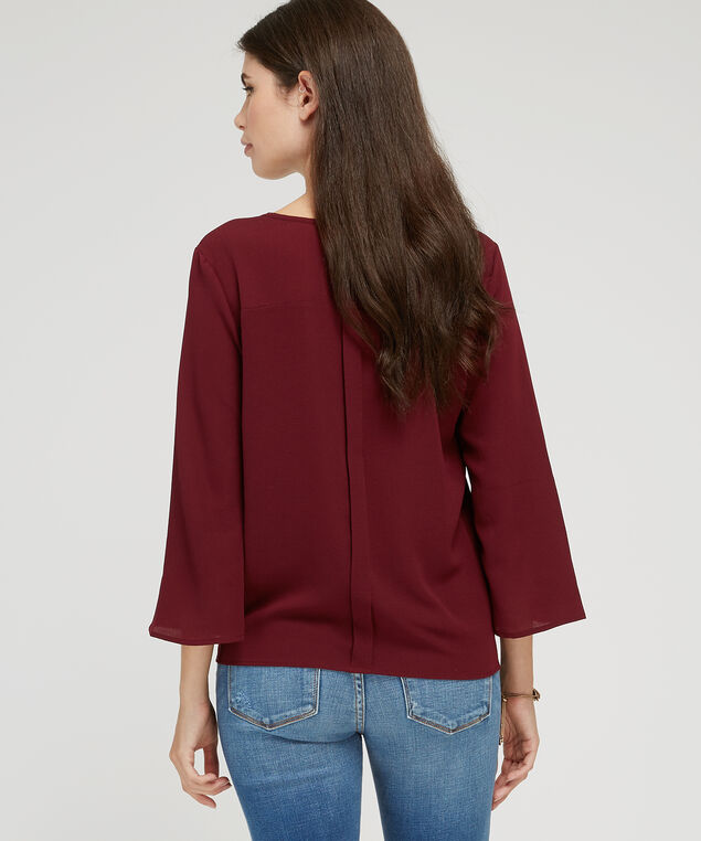 v-neck blouse - wb, BURGUNDY, hi-res