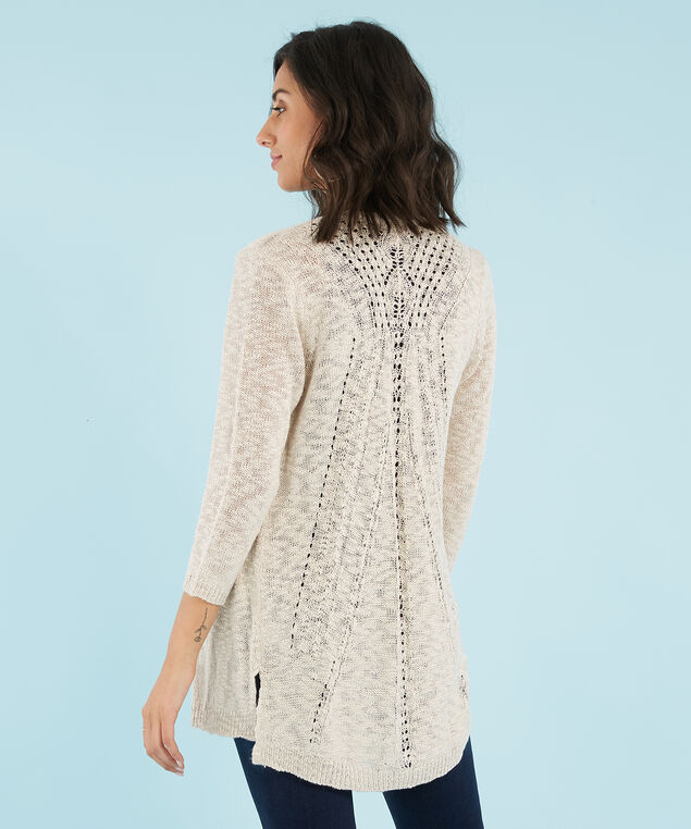 open pointelle cardi - wb, OATMEAL, hi-res