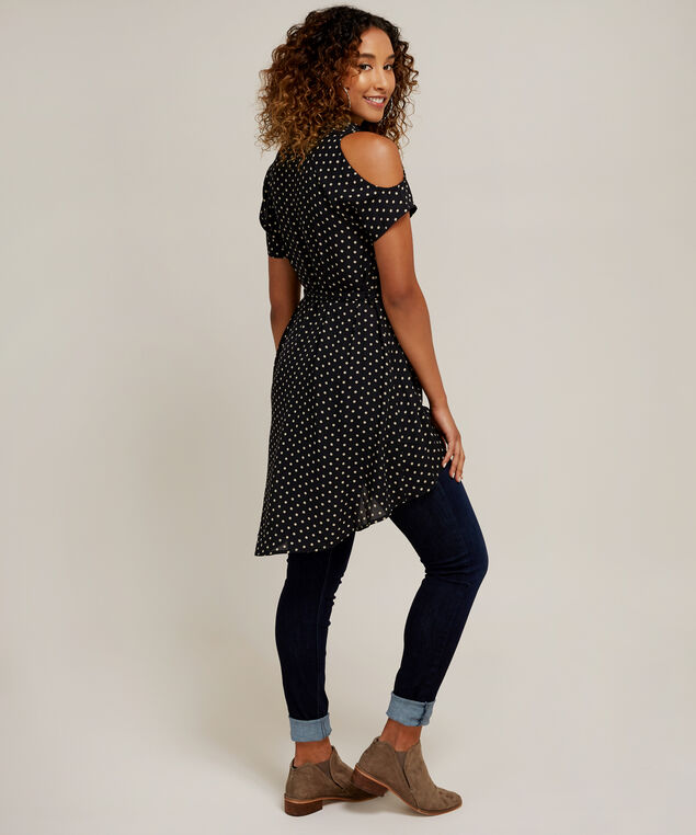 button up tunic with sash belt - wb, BLACK WITH POLKA, hi-res