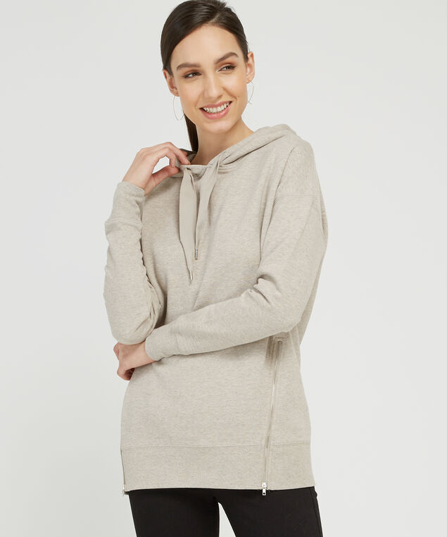 long hoodie with side zipper - wb, TAUPE, hi-res