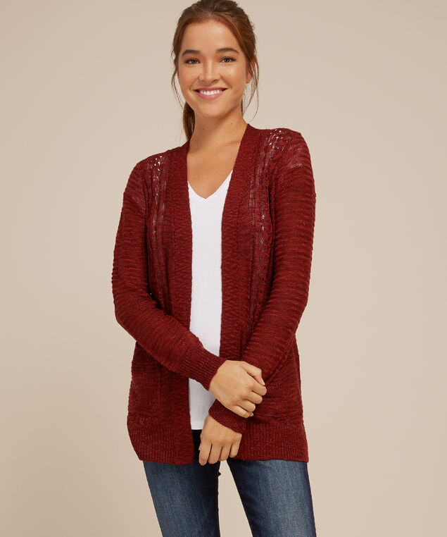 cardigan with front cable - wb, CINNAMON, hi-res