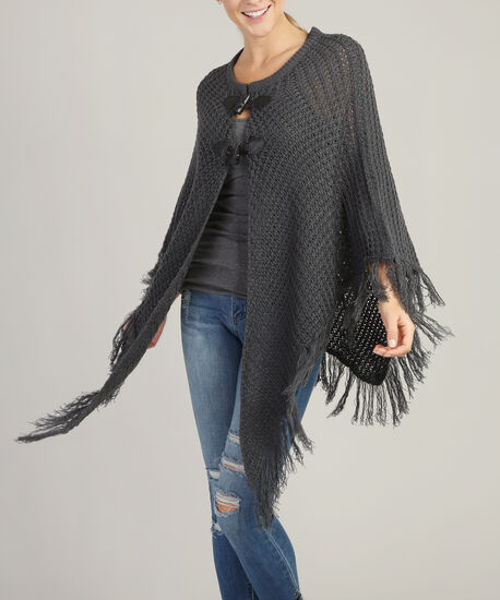sweater poncho with toggle - wb, CHARCOAL, hi-res
