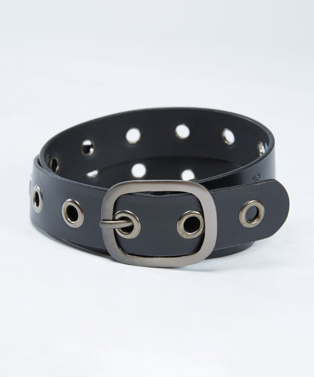 women's grommet belt, Black