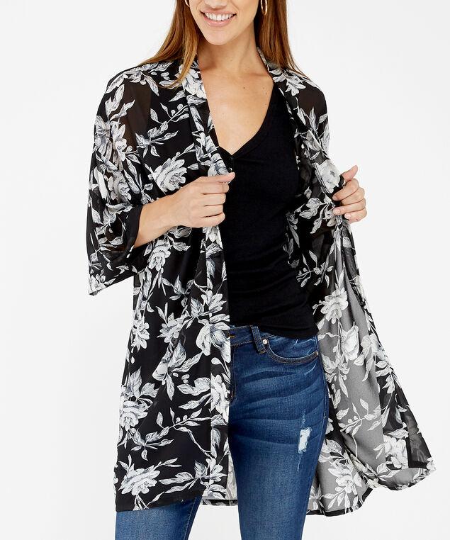 floral kimono, BLACK PRINT, hi-res