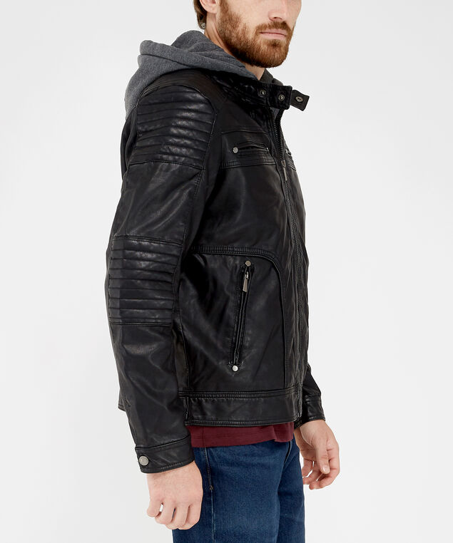 motorcycle jacket 976218, Black, hi-res