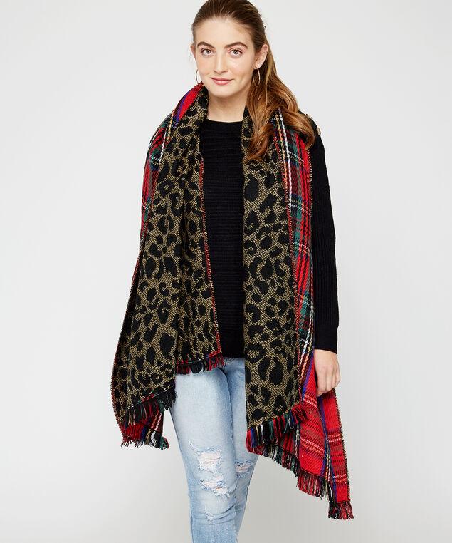 reversible leopard scarf, Red, hi-res