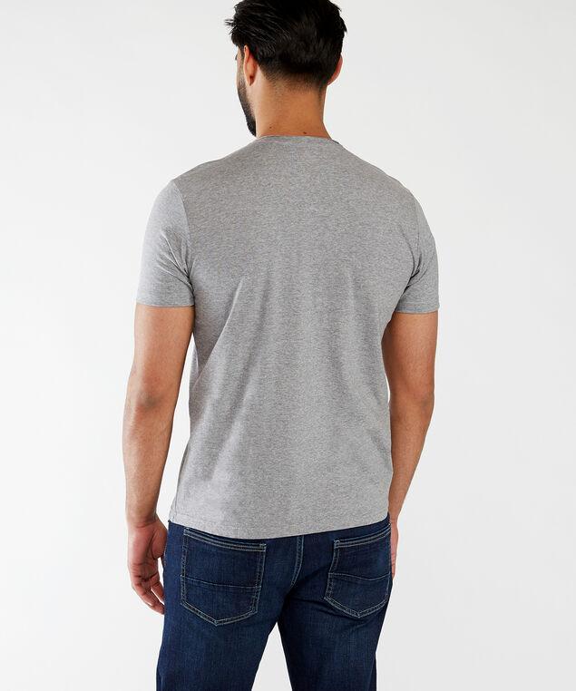 short sleeve henley tee, Medium Grey