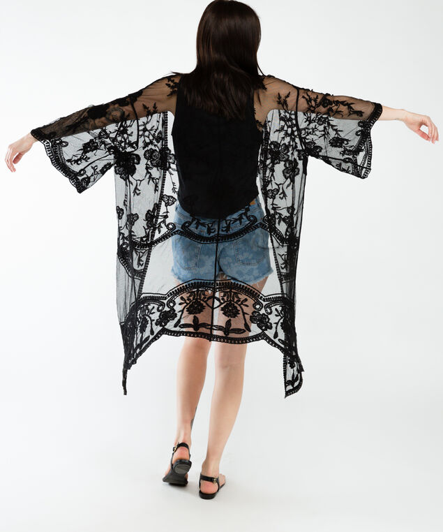 long sleeve embroidered kimono, Black