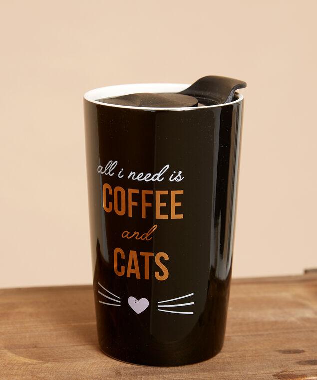 coffee and cats travel mug - wb, BLACK COMBO, hi-res